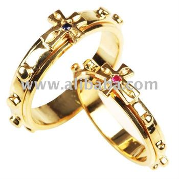 14K Solid Gold Cross Rosary Ring by Esther Lee