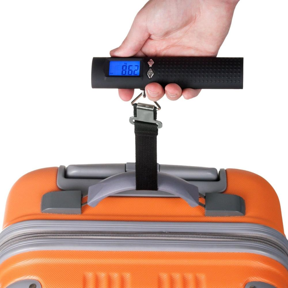Newly 50kg digital luggage scale with 2600mAh external battery and LED flashlight with Blue LED backlight