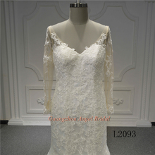 Bride use V neck backless lace sexy long sleeve mermaid wedding dress