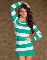 Ladies Cocktail Party Long Sleeve Mini White Green Sweater Mini Dress Clubwear