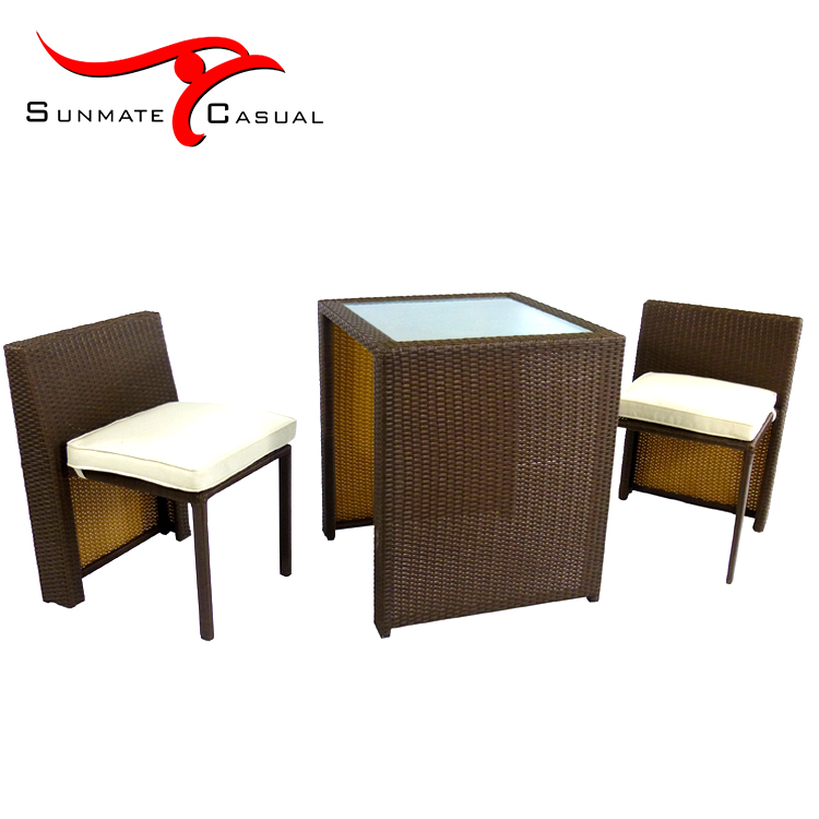 Space Saving Garden Furniture Outdoor Patio Wicker Rattan Coffee Table Chair Set
