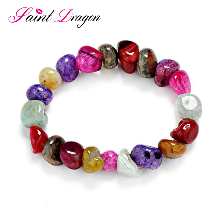 Irregular shape natural colorful agate beaded bracelet wholesale