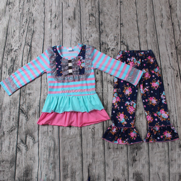 2016 yawoo wholesale clothing black floral ruffle pants kids outfits cotton bib styles baby girl cheap clothes children clothing