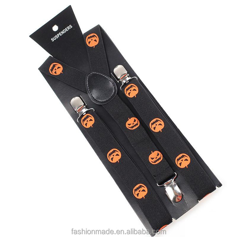 custom Halloween Pumpkin print decorative suspenders