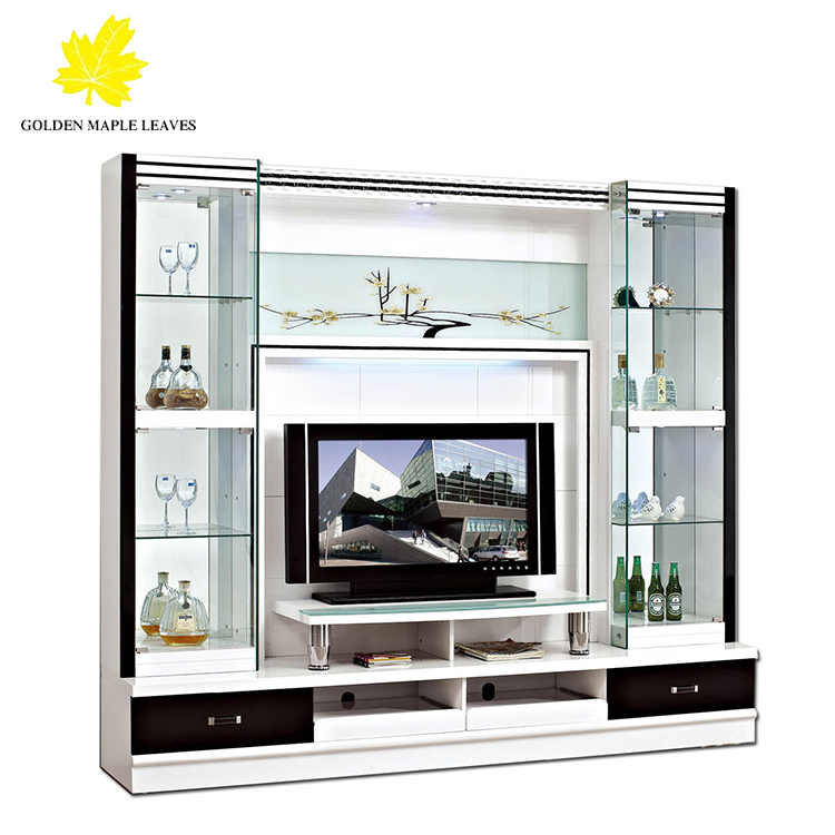 High Glossy Living Room Furniture Wall Glass TV Cabinet