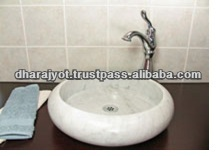 New round white marble polished natural stone wash basin, stone sink, stone basin