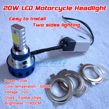 LED Motorcycle Headlight 20W 1900 lumen 2 sides lighting use Epistar chip 360 degree high quality