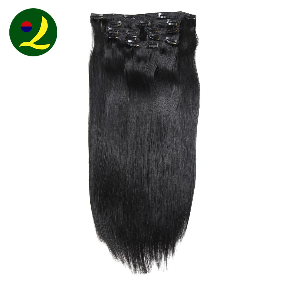 100 Human Hair Extension Strong Clip In Hair Extensions Silky Straight Black Color Two Layered Strong Weft Hair