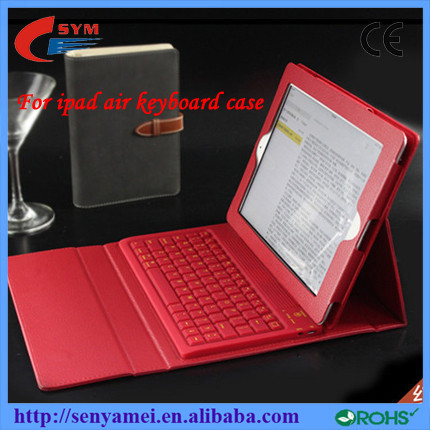 New arrive Leather Stand flip cover For iPad Air Bluetooth Keyboard Case