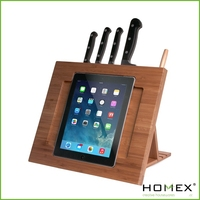 Multifunctional bamboo knife block/Bamboo knife storage with book holder/Kitchen accessories/Homex