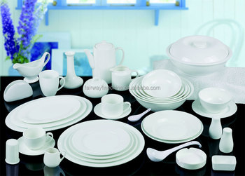 Cheap Wholesale White Porcelain Fine China Hotel Dinner Set