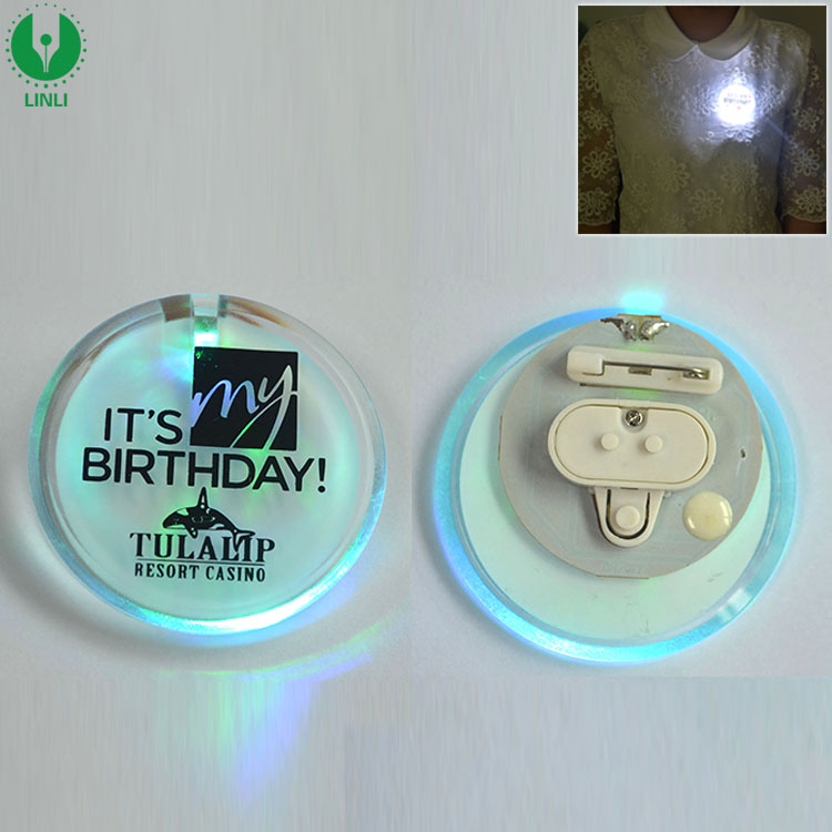 Halloween Decoration Mini Custom LED Button Pins With Logo