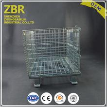 heavy duty cargo logistic equipment powder metal foldable cage pallets iron sheet storage container with draw handle