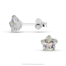 Flower Cubic Zirconia Stone Gems Earring 925 Sterling Silver Wholesale Cheap Price Jewelry