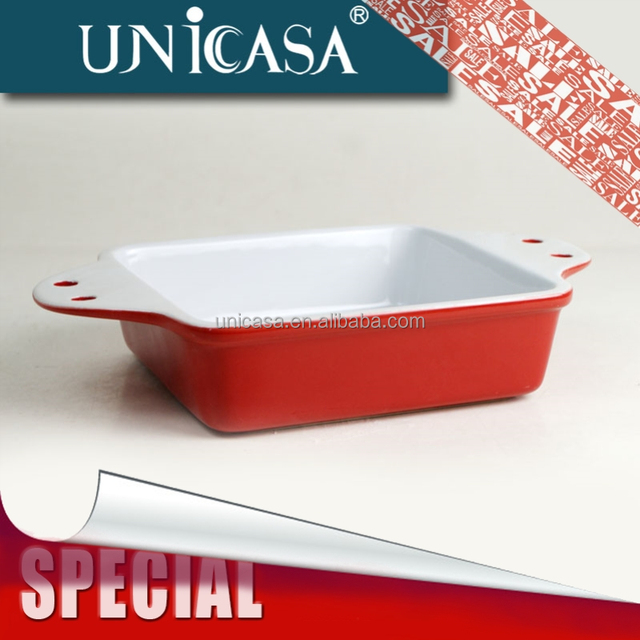 UNICASA Large Stock Promotional Cheap Ceramic Casserole Dish With Silicone handle