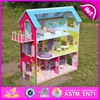 2017 newest wooden doll house,popular wooden doll house,mini kids wooden doll house W06A108-F03
