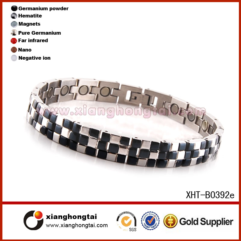Neodymium magnetic titanium/316 L steel bracelet IP Black 5 in 1