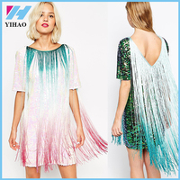 New Women's Heavy Beaded Women Dress Sequined Tassels Straight loose Dress