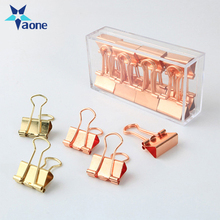 19mm Solid Color Rose Gold Metal Notebook Binder Clips With Box Notes Letter Paper Clip Office Supplies