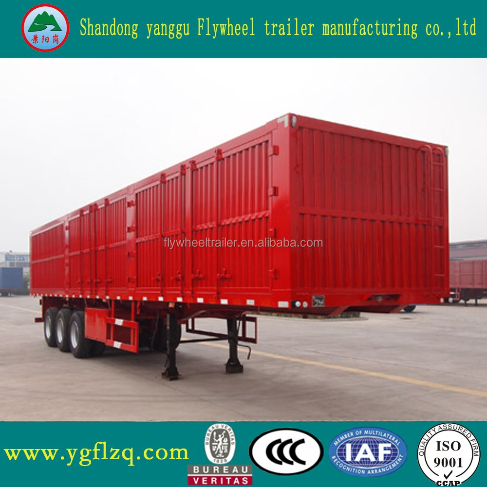 China Feilun Trailer Vehicles 3 BPW axle box van type enclosed cargo semi truck trailer