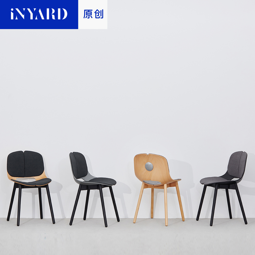 upholstered dining chairs with 8mm thick plywood 3D bending wood modern design chair for restaurant by Yonoh Creative Studio