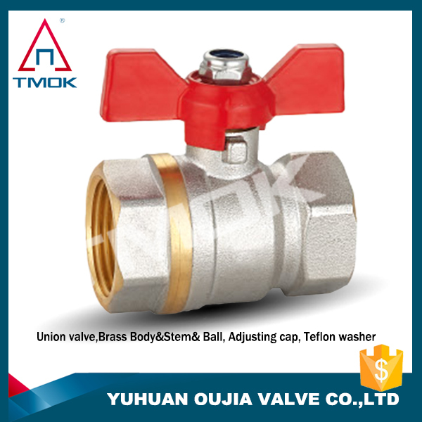 npt threaded nut t handle male thread/nut full flow ball valve control valve hydraulic nickel-plated and CE approved PPR PN 25