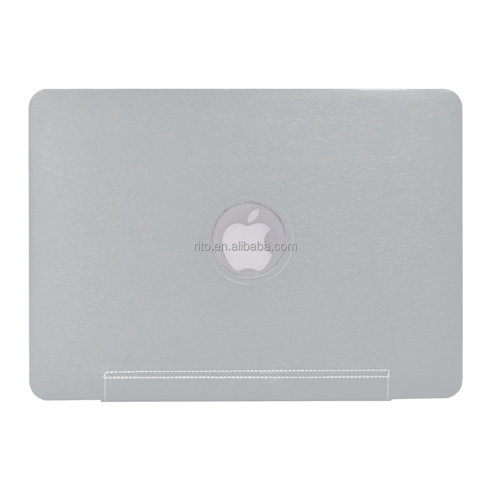 "Wholesale Silk Fiber PU Leather Sleeve Shell Case for Apple Macbook Air 11"" Case, Silver"
