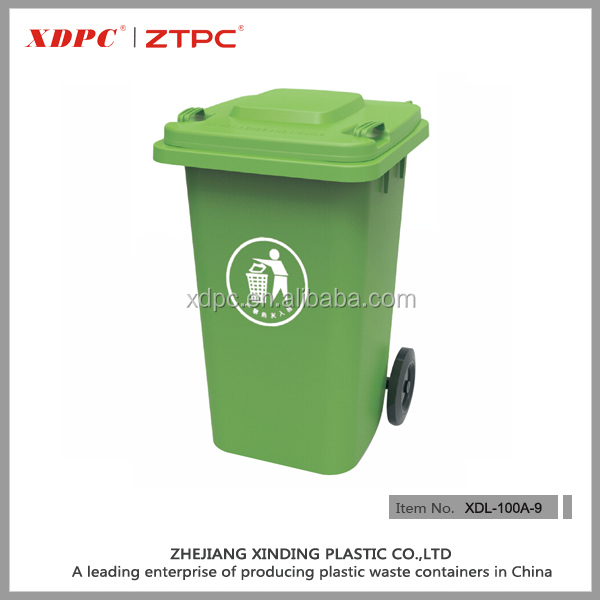 100L hdpe plastic waste bin with wheels