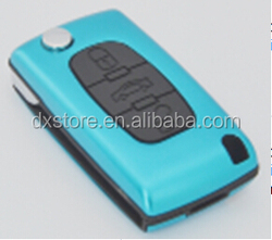 Wholesale price 3 buttons flip key cover 406 blade with battery clamp trunk buttons CE0536 for peugeot 406 remote key