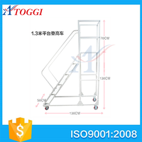 folding movable steel ladder truck with wheels