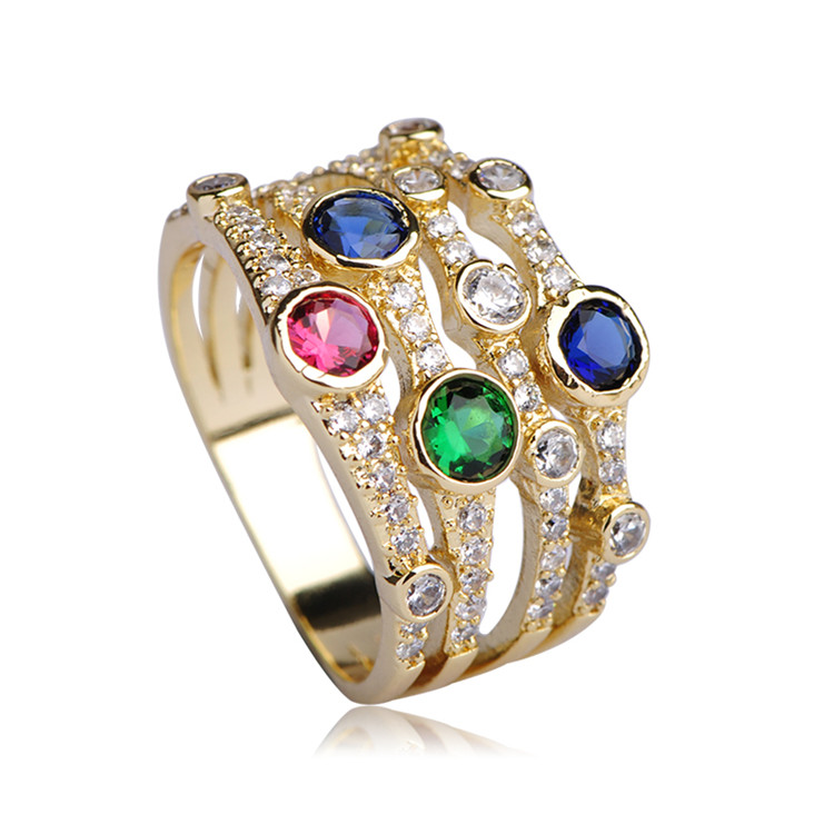 Blucome AAA Zircon Multilayer Copper Engagement Bague Jewelry Width Colorful Metal Ring for Women Men