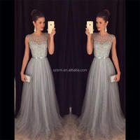 Gray Jewel A Line Beaded Floor Length Tulle Women Gowns For Formal Evening Party Evening Dress 2018