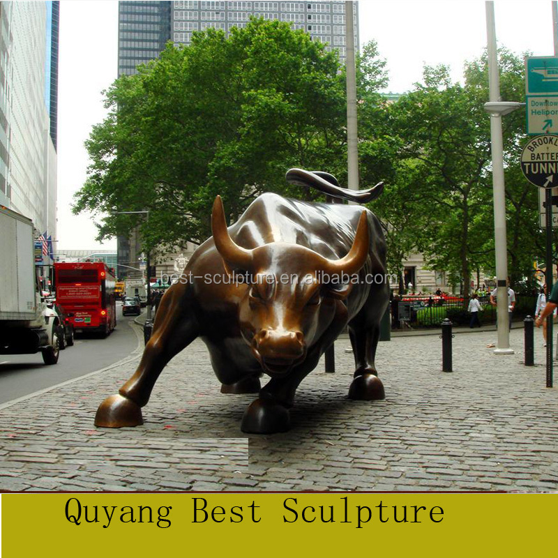 Customized Life Size Bronze Wall Street Bull Statue Sculpture for Sale