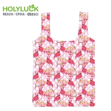 Flamingo Woman Nylon Large Shopper Grocery Folding Shopping Tote Bag