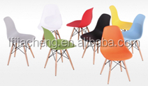 2014 new designed modern plastic dining chair with wooden leg