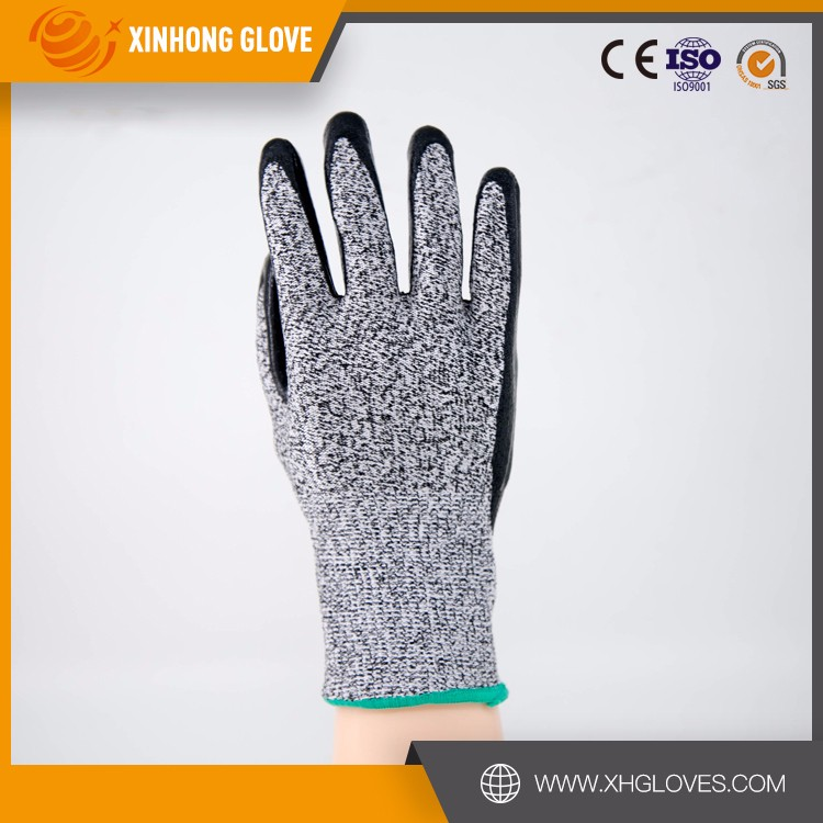 Xinhong CE high-quality level 5 cut resistance nitrile coated glove protective glove/ safety gloves glass work