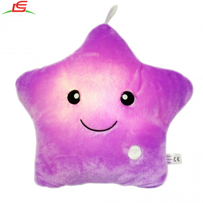 Creative Stuffed Toys Twinkle Star Glowing LED Night Light Plush Pillows