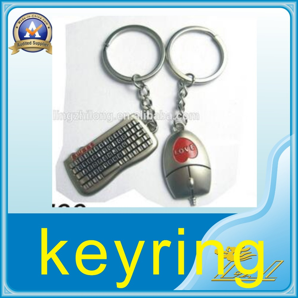 sweet love metal keyrings mouse and keyboard design silver keychain
