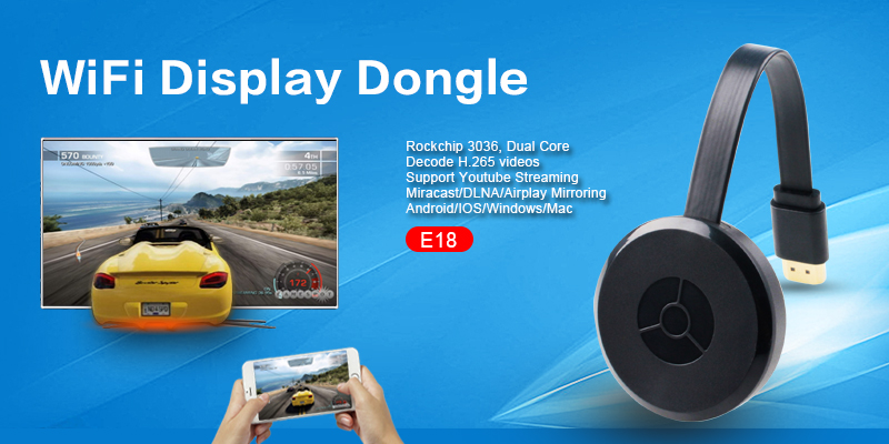 Wecast E18 RK3036 dual core Miracast Wifi display TV dongle for android ios