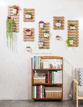 Innovative wall mouted wooden bamboo flower shelf