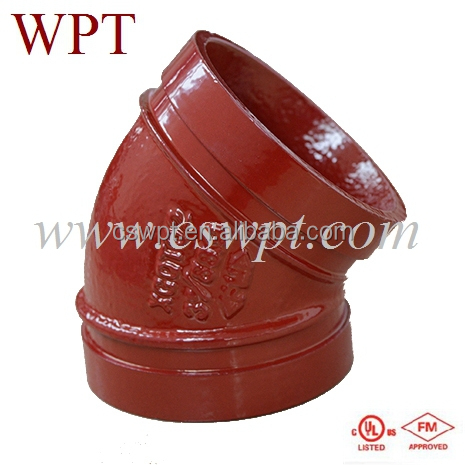 FM/UL approved fire fighting ductile iron 45 degree grooved elbow