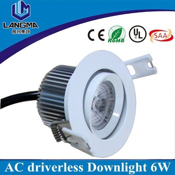 New tech AC230V driverless 6w dimmable 4000K downlight led ac cob led downlight