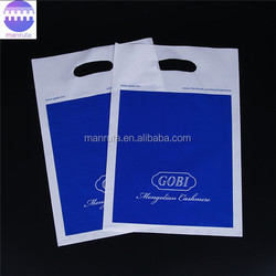 Leading manufacture clean PE die cut plastic shopping bag with handle hole for promotion