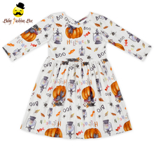 448BQA313 Yihong Halloween Printed Pumpkin Long Sleeve Girls Simple Baby Frock Design