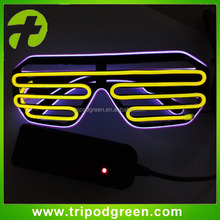 Fashion Neon LED Light Up Shutter Shaped Glow EL Wire Glasses Rave Costume Party DJ Bright SunGlasses