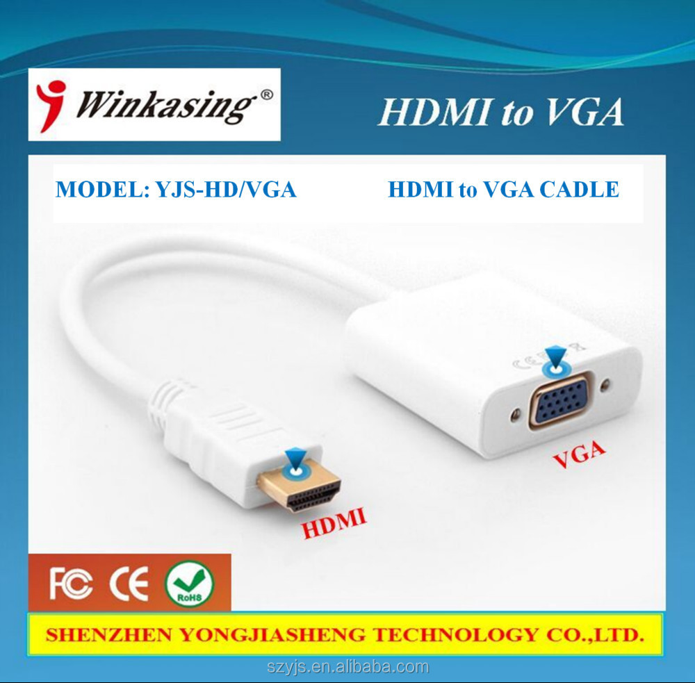 2016 HDMI to VGA line with audio connectors to display hd line converter