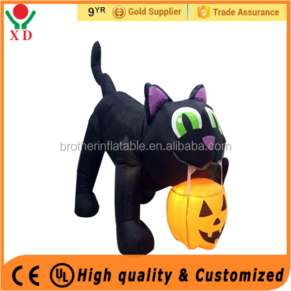Factory price Custom Outdoor Inflatable Halloween Cat with Ppumpkin