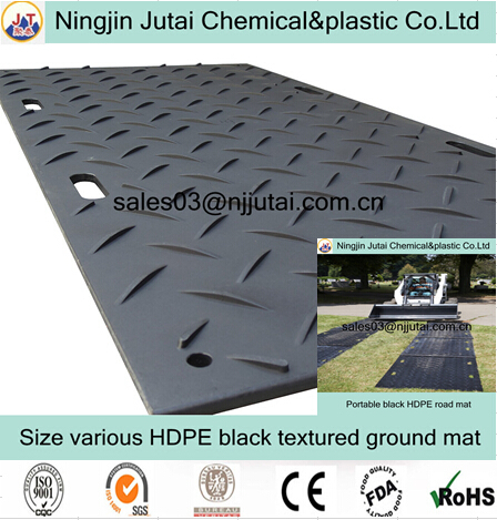 Good anti slip property textured black PE road mat