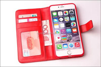 smart phone leather case with window for iphone 5 with 3 card slots
