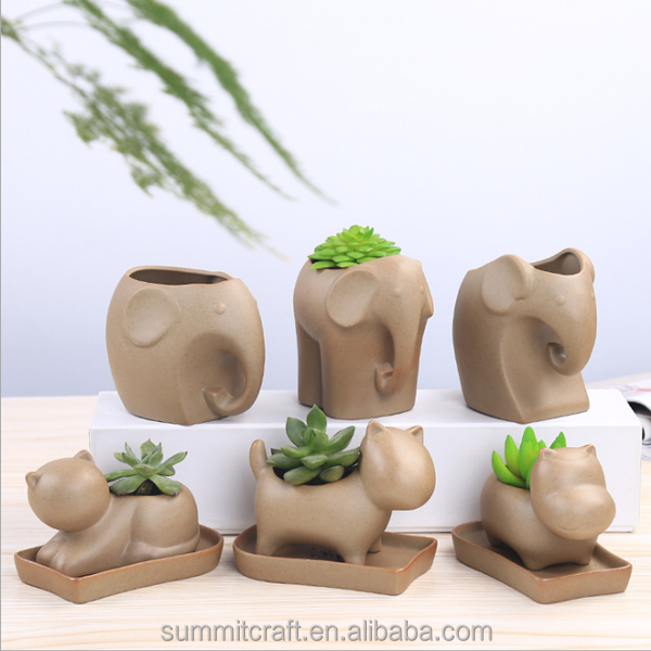 Small animal cat dog hippo shape flower pot pottery pot